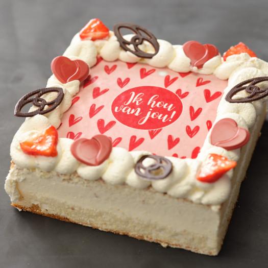 Valentijn slagroomtaart 9 persoons